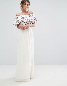 Embroidered Bardot Maxi Dress // #wishlist #spring #embroidered #maxi