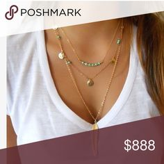 4 TIER BOHO NECKLACE 20 inches. Gold tone. Very shiny. Super delicate, pretty, feminine, and totally on trend. New without tag. Jewelry Necklaces