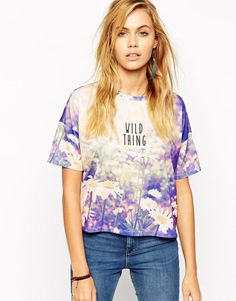 ASOS | ASOS Crop T-Shirt with Wild Thing Daisy Print at ASOS