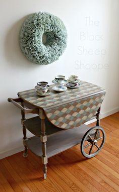 Painted vintage tea cart.