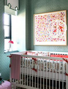 #nursery with #teal #green wallpaper and cute white #crib.  Very nice #baby #room! http://cococozy.com