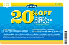 20% off at Old Navy, or online via checkout promo ONBIG20 coupon via The Coupons App