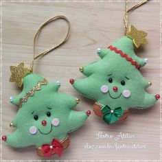 Sewn Christmas Ornaments, Felt Christmas Decorations, Christmas Tree Pattern, Felt Ornaments, Christmas Crafts, Felt Gifts, Inspirational Gifts, Sewing For Kids, Christmas Projects