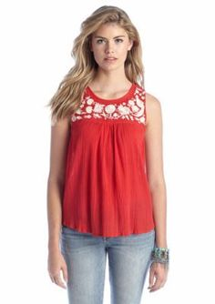 Lucky Brand  Sleeveless Embroidered Flowy Top