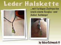 Leder Halskette mit Seeglas und Perlen von MeerSchmuck auf DaWanda.com
