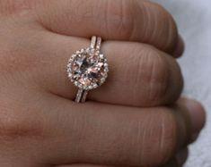 Pink Morganite Engagement Ring Wedding Ring Set by Twoperidotbirds