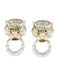 Gold Diamond and Emerald Tiger Earclips