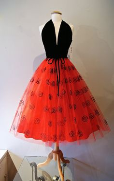50s Dress // Vintage 1950s Halter Dress Red and by xtabayvintage, $348.00
