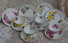 Royal Standard Harlequin Tea Trios - Tea Cups, Saucers, Tea Plates Four of Each, Vintage  Floral and Gilt Bone China, Excellent Condition