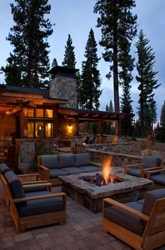 California rustic home fire pit - Want as part of the outdoor space in timberframe house: