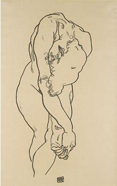 Egon Schiele, Kauernder Akt mit herabgebeugtem Kopf und überkreuzten Händen (Bending woman with head bowed and crossed hands), 1918