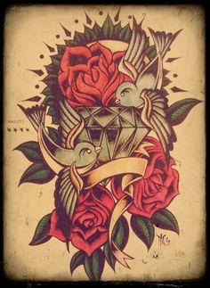 swallow #rose #diamond #old #school # ink #tattoo