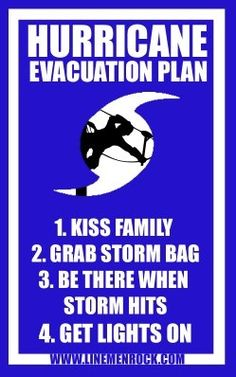 Lineman Hurricane Evacuation Plan -- Yes! While everyone else is leaving or taking shelter my man heads out to work in the storm -- Thank a Lineman!!