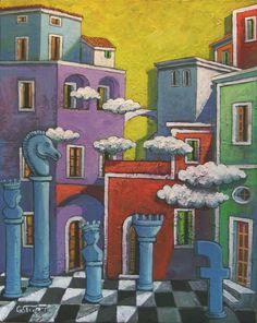 """""""Nuovi e antichi giochi""""  di Giuseppe Sticchi acrilico su tela cm.50x40 subasta di www.artelista.com"""