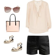 Summer concert outfit - champagne top, black shorts & wedges with spikes!