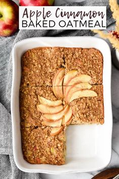 This Apple Cinnamon Baked Oatmeal is a healthy & hearty breakfast recipe that your entire family will love. It's gluten-free and dairy-free with no refined sugar. Plus it's vegan-friendly! via JoyFoodSunshine Vegan Baked Oatmeal, Healthy Oatmeal Recipes, Apple Recipes, Baked Oatmeal With Apples, Baked Oats, Healthy Apple Desserts, Baked Oatmeal Cups, Healthy Snacks, Healthy Hearty Breakfast