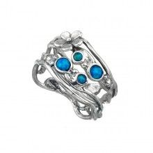 flower Silver Stack Ring with Opal
