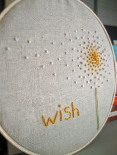 Embroidery Hoop Art Wish in Yellow by atticusandcole on Etsy