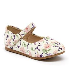 Beige Floral Mary Jane