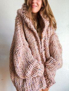 Knit Cardigan Pattern, Hoodie Pattern, Sweater Knitting Patterns, Crochet Jumper, Chunky Oversized Sweater, Chunky Knit Cardigan, Sweater Cardigan, Knit Sweaters, Hooded Cardigan