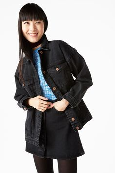 Monki Image 2 of Classic denim jacket in Black