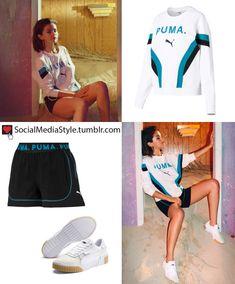 Buy Selena Gomez's Puma sweatshirt, shorts, and sneakers here! Selena Gomez Outfits, Selena Gomez Style, Mamma Mia, Sporty Outfits, Stylish Outfits, Puma Outfit, Puma Sweatshirts, Ulzzang Fashion, Everyday Look