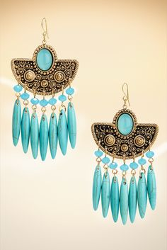 Faux Turquoise Boho Earrings #BostonProper #Jewelry #Accessories