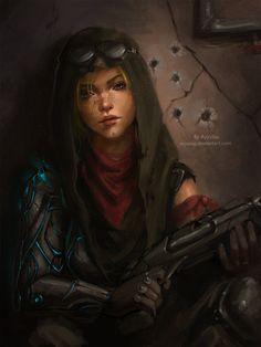 Sci Fi Warrior woman, Ayya Saparniyazova  on ArtStation at http://www.artstation.com/artwork/sci-fi-warrior-woman