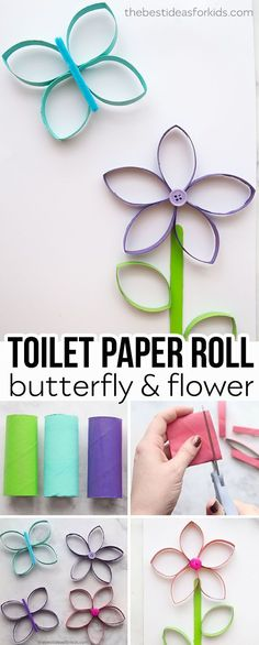 This paper roll butterfly and flower craft is perfect for Spring or Summer! Kids will love making their own butterflies and flowers out of toilet paper rolls. Paper Roll Crafts, Paper Roll Crafts for Kids, Spring Crafts, Summer Crafts, Toilet paper roll c Crafts For Teens To Make, Spring Crafts For Kids, Craft Projects For Kids, Craft Activities For Kids, Summer Crafts, Fun Crafts, Summer Kids, Spring Summer, Craft Ideas