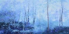 Landscape oil painting in shades of lavender and blue