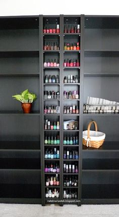 "I Relish Nail Polish!: My Nail Polish Storage & Display - IKEA ""Billy"" shelf system    Oooh! We have one of the narrow ones for CD's......"
