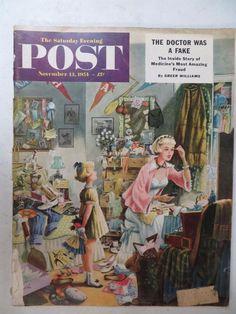 Saturday Evening Post Magazine November 13 ,1954 Constantin Alajalov VINTAGE ADS