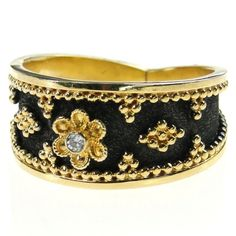 black gold ring Diamond Flower Tapered Black Gold Band Ring - Materials Gold and a Diamond. Specifics The face is approx inch wide. The ring will be made to your size by the designer for a perfect fit. 24k Gold Ring, Gold And Silver Rings, Gold Band Ring, Gold Bands, Black Silver, 18k Gold, Greek Jewelry, Gold Rings Jewelry, Black Gold Jewelry