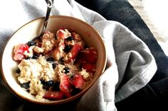 strawberry & blueberry overnight oats!  so simple!  mix all of the ingredients at night, refrigerate, take out in the morning and enjoy!