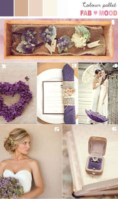 Brown, Champagne, Nude & Purple Inspiration Board add a little grey and it's my perfect wedding palette :)