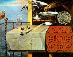 "Moving Still Life, 1956 Salvador Dali "" my ideas were ingenious and abundant. I decide to turn my attention to the pictorial solution of quantum theory, and invented quantum realism in order to master gravity"""