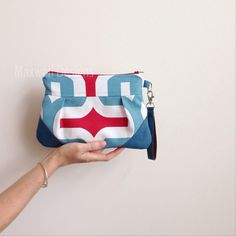 Faux Leather Clutch In Blue White Red Repurposed #maxwelldesignswishlist