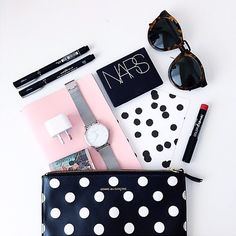 #flatlay #nars #makeup #summer #sun #dots #pink #sunglasses