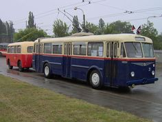 Trolejbus Škoda 7Tr s vlečným vozem Karosa B40. Busse, Transportation, Train, Vehicles, Motorcycles, Rolling Stock, Motorbikes, Motorcycle, Trains