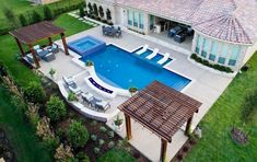 Lovely Backyard Patio Design Ideas With Beautiful Pool Backyard Pool Landscaping, Backyard Pool Designs, Small Backyard Pools, Backyard Ideas, Landscaping Ideas, Pool Fence, Terrace Ideas, Patio Ideas With Pool, Backyard Cafe