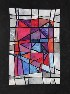 """bunte Glasfenster"" (colorful glass windows), art quilt by Ursula Roll (Germany)"