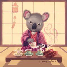 Eucalyptus Tea Ceremony / Garry Muska Koala Bears, 3 Bears, Eucalyptus Tea, Animal Totems, Tea Ceremony, Keepsakes, Hugs, Fairy Tales, Paradise