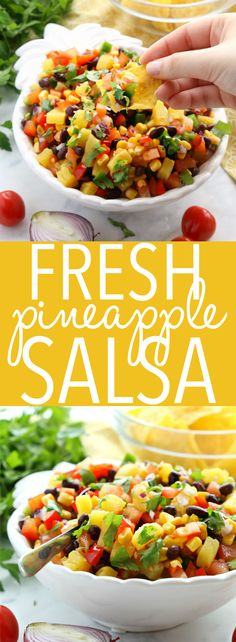This Fresh Pineapple Salsa is the best ever healthy snack or appetizer packed with fruits and veggies – it's perfect for spring and summer barbecues! … - New Site Lunch Snacks, Clean Eating Snacks, Healthy Snacks, Healthy Eating, Healthy Recipes, Easy Healthy Appetizers, Best Appetizers Ever, Bbq Appetizers, Best Appetizer Recipes