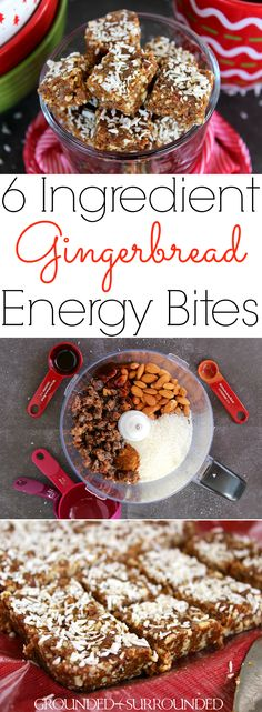 6 Ingredient Gingerbread Energy Bites   This easy no bake recipe will quickly become your favorite healthy snack especially during the holidays! Gluten-free dates, almonds, coconut, molasses, and pumpkin pie spice combine to create a clean eating, Paleo, 21 Day Fix, and vegan recipe that is perfect for families, kids and adults alike. Look no further for the best low carb Christmas dessert or snack!