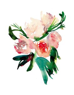 Flower Series Floral Print Watercolor Painting by PearTeaPaperie