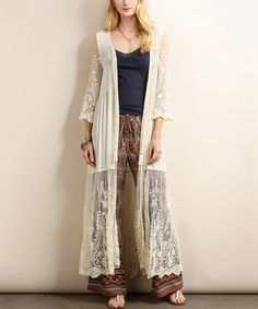 This Tassels N Lace Ivory Lace Open Duster by Tassels N Lace is perfect! #zulilyfinds