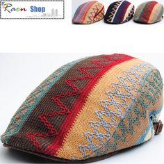Multi Color Zigzag Pattern Design Newsboy Flat Cap Golf Gatsby Ivy Hat Green N73 | eBay