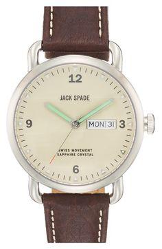 Jack Spade 'Buckner' Leather Strap Watch @Nordstrom
