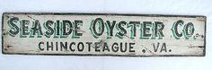 Vintage Seaside Oyster Company Painted Wooden Sign