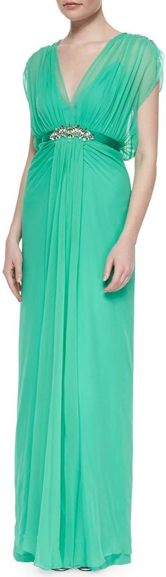 $3,725, Crystal Embellished Draped Chiffon Gown Mint by Jenny Packham. Sold by Neiman Marcus. Click for more info: http://lookastic.com/women/shop_items/144387/redirect